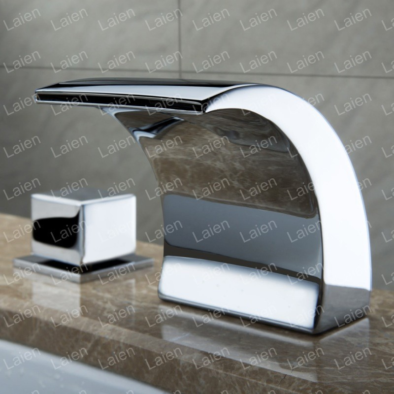 All copper LED Waterfall Bathroom Cabinet split three holes basin taps basin faucet hot and cold wash basin