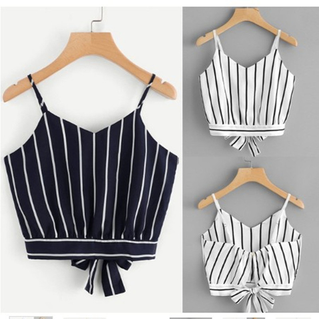 Sexy Women Crop Tops Striped Tie Back Casual Spaghetti Strap Bow Vest Knot Cropped Tank Tops Vest 2019