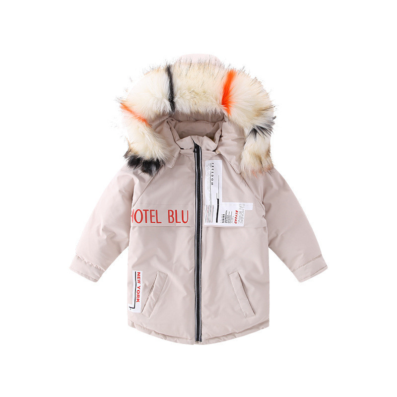 Toddler Boy Girl Winter Coat Long Style Casual Children Warm Parkas Fur Hat Boutique Kids Think Warm Outerwear D1073 new russia fur hat winter boy girl real rex rabbit fur hat children warm kids fur hat women ear bunny fur hat cap