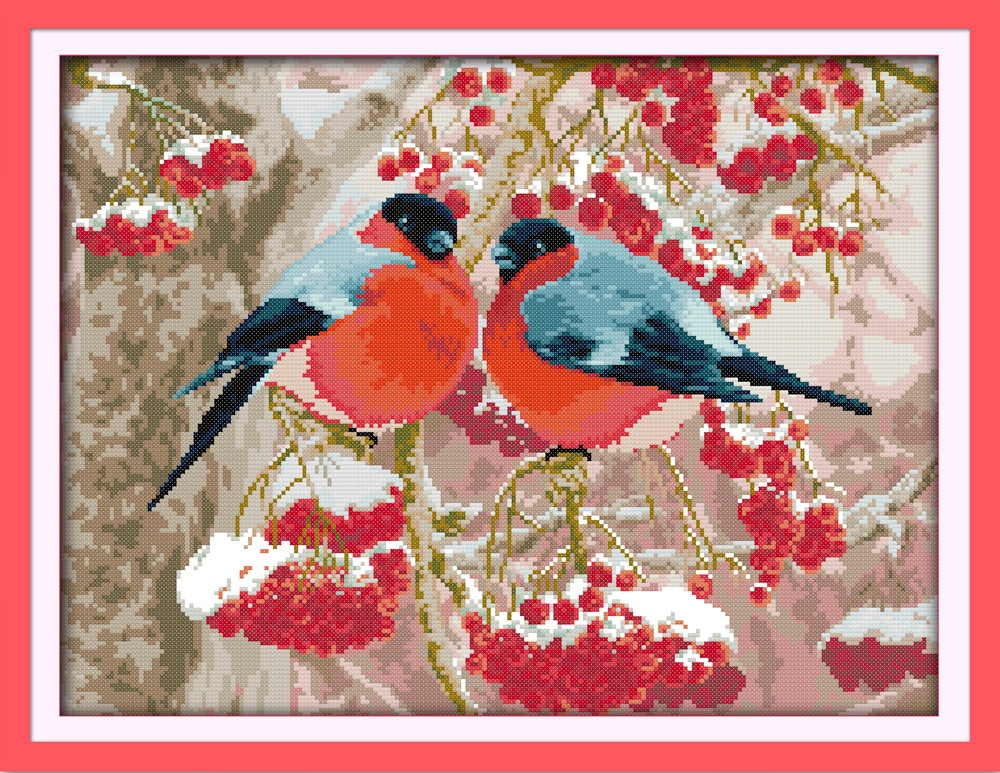 Bullfinch Cross Stitch Kit Cartoon Animal Winter Snow