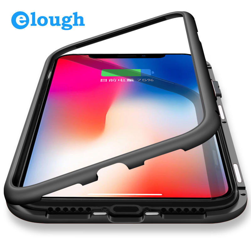Elough Magnetic Adsorption Case for iPhone X 7 8 plus Case Full Cover Mobile Phone Case Magnet Flip Tempered Glass Case Magnetic