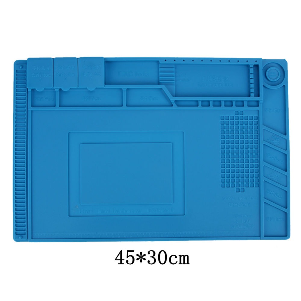 45*30cm Anti Static Mat Silicone Heat Insulation Mat Maintenance Platform with Magnetic Section for Soldering Repair Scale Ruler 45 30cm heat insulation silicon pad repairing mat maintenance platform for bga soldering repair tool with magnetic section