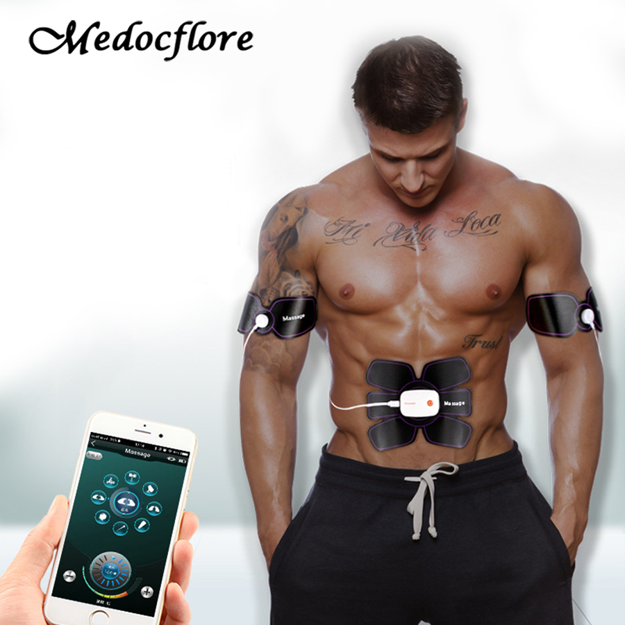 App Control Muscle Trainer EMS Rechargeable Abdominal Stimulator Electric Pulse Shape Fitness Body Slimming Belt Massager smart electric abdominal muscle arm trainer perfect body device wireless muscle stimulator fitness massage health fat burning