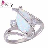 CiNily Authentic 925 Sterling Silver Created White Fire Opal Cubic Zirconia Wholesale For Women Jewelry Ring