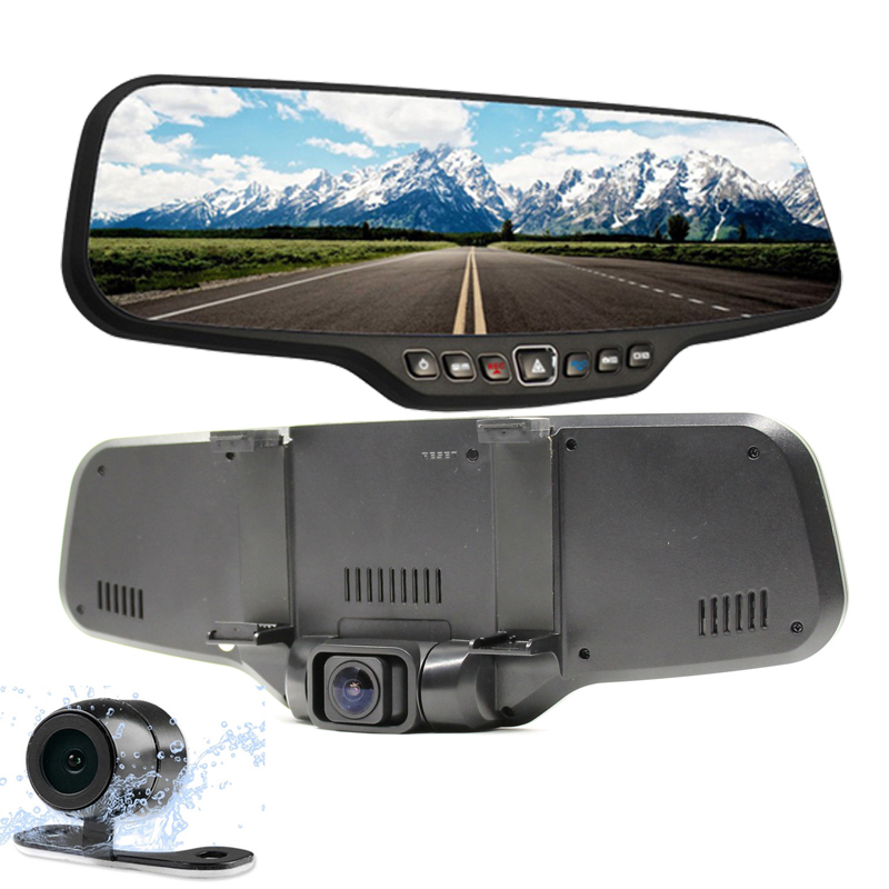 dual lens car rearview dvr mirror camera full hd 1080p 30fps 12 0mp cmos 4 3 us497. Black Bedroom Furniture Sets. Home Design Ideas
