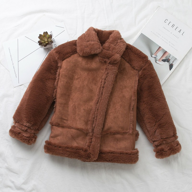 Online Shop Shearling Sheepskin Coats Baby Girl Thick Suede ...