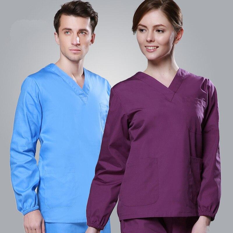 Nuevo Llega Unisex Hombres Medicos Ropa Manga Larga Batas Femenino Medicos Uniformes De Cuello V Enfermera Trajes Superior Pantalones A284