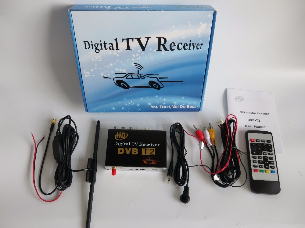 HD Car Mobile DvbT2 DVB-T2 and H.264, MPEG-4, MPEG-2 Standard Digital Tv Receiver Box Free shipping телеприставка qhisp iptv dvb t2 mpeg4 hd 40 car dvb t2