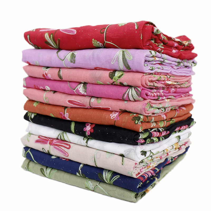 1pc Spring Women's Oversize Glitter Cotton Scarf Scarves Hijabs Muslim Turban Embroidery Flower Long Shawl Headscarf 200*90cm
