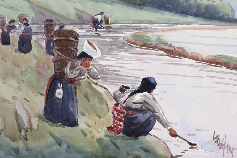 scenery canvas prints landscape modern Chinese artist masterpiece poster figurative picture watercolor art woman near the river