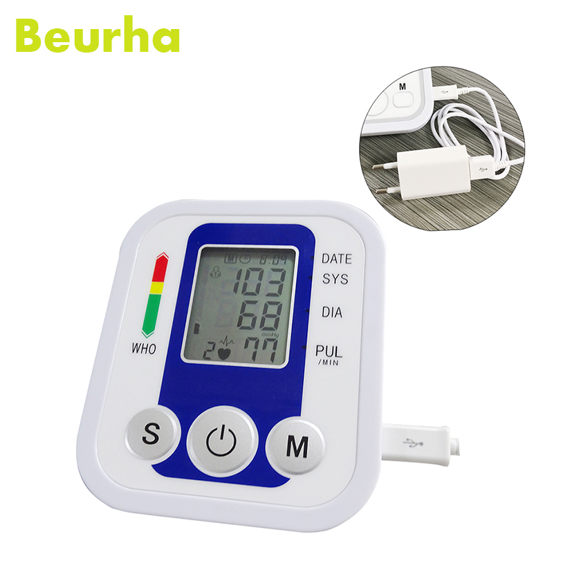 Beurha Digital Arm Blood Pressure Pulse Monitor Health Care Tonometer Meter Sphygmomanometer Upper Blood Pressure Monitors glucose meter with high quality accessories urine disease glucose meter test article 50 pc free blood 50 pcs of health care