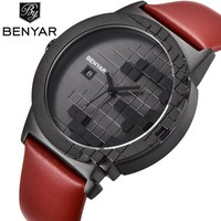 Benyar Fashion Ladies Quartz Watch Women Luxury Brand Leather Wrist Watch Women Waterproof Watch Female Clock