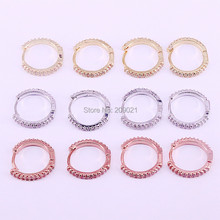 10Pairs 14mm, Gold/Rose Gold Color Clear White  CZ Zircon Pave Hoop Earrings Simple Jewelry For Woman Girl