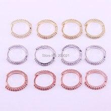 10Pairs 14mm, oro/Oro Rosa di Colore Chiaro Bianco CZ Zircone Pavimenta Orecchini A Cerchio Semplice Dei Monili Per La Donna Della Ragazza