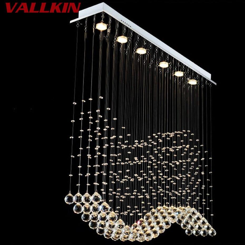 Agressief Luxe Led Crystal Hanglampen Moderne Kristallen Hanglamp Rechthoek Opknoping Lampen Armaturen Voor Indoor Thuis Lamp Mall Winkel Puur Wit En Doorschijnend
