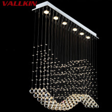 Luxury LED Crystal Pendant Lights Modern Crystal Pendant Light Rectangle Hanging Lamps Fixtures for Indoor Home Lamp Mall Store