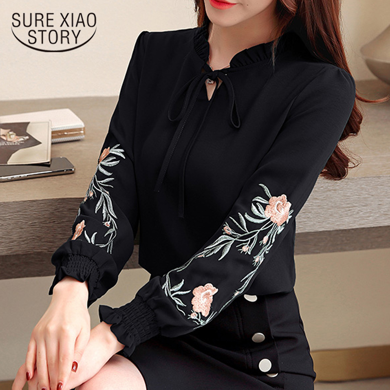 Fashion Womens Tops And Blouses 2018 Long Sleeve 3XL 4XL Plus Size Women Shirts Floral Embroidery Chiffon Blouse Shirt 1645 50