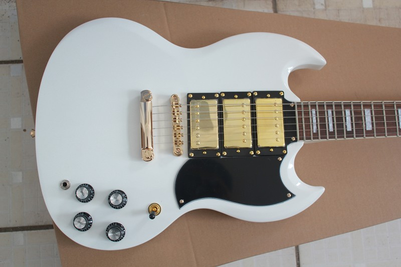 New Beautiful Musical Instruments 6 strings 3 Pickups G LP Custom sg SG 400 white Electric guitar
