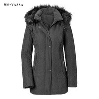 MS VASSA Parkas Women 2019 New Lades Jacket Autumn Winter Coats Turn down collar detachable hood plus size 7XL Female outerwear