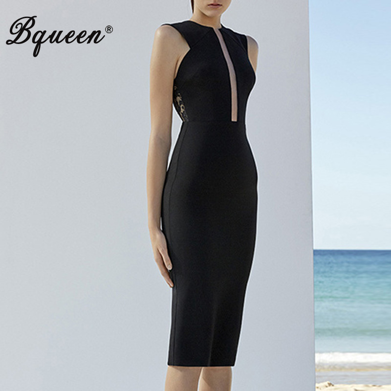 Bqueen 2017 New Arrival Sexy Hollow Out Print Autumn Women Bandage Dress Elegant O Neck Knee Length Sleeveless Lady Dress