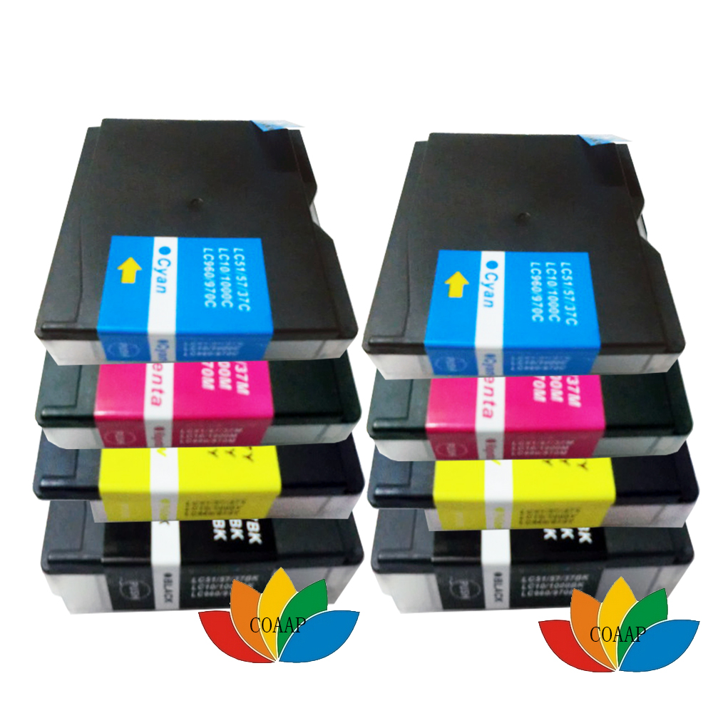 8pk lc37 lc51 lc57 lc960 lc970 lc1000 cartucho de tinta compatível para impressora brother dcp-130c dcp-560cn mfc-235c fax-1355