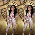 New 2016 Hot Autumn Winter Women Floral Printed 2 Piece Set Sweatsuit Casual Long Sleeve Zipper Club Party Clothing Set S-XL