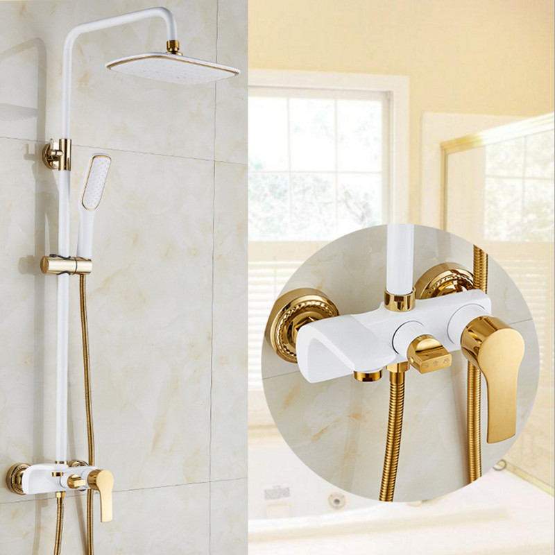 Top quality brass gold shower set with fashion black gold shower set and white gold shower faucet with ABS white gold shower michael jackson black and white cover gold black l