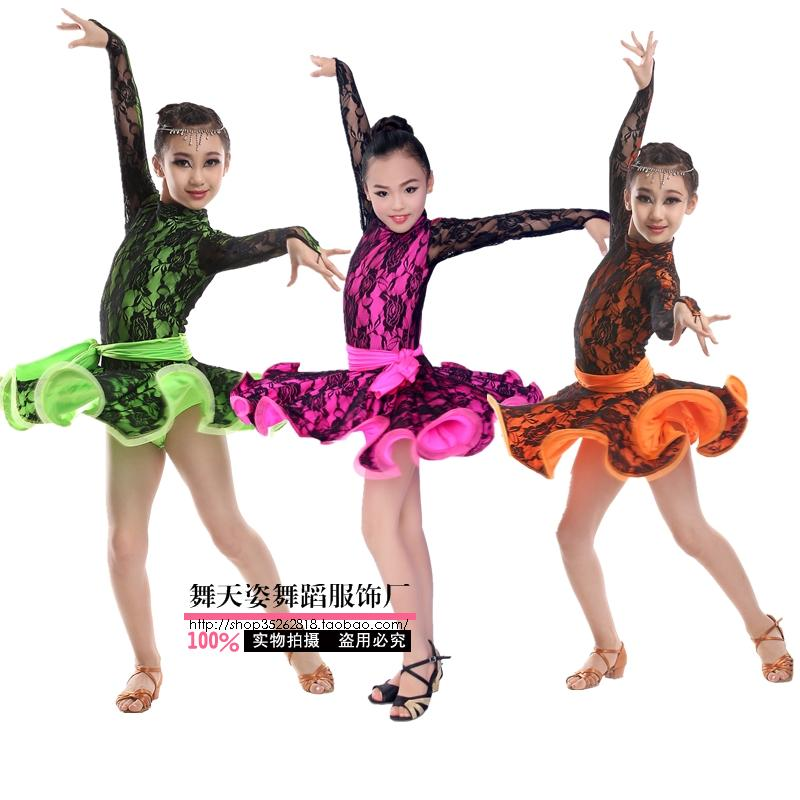 Adult Child Latin Dance Costume Sexy Lace Long Sleeves Latin Dance Dress For Adult Children Latin Dance Dresses S-4XL