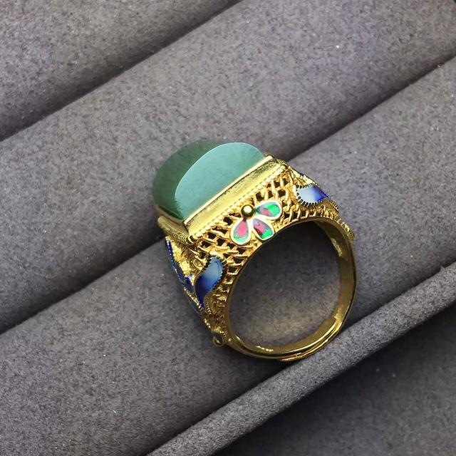 Estilo chino clásico hombre anillo nobiliario anillo para hombre 12*16mm jade verde natural pura plata esterlina 925 moda hombre anillo