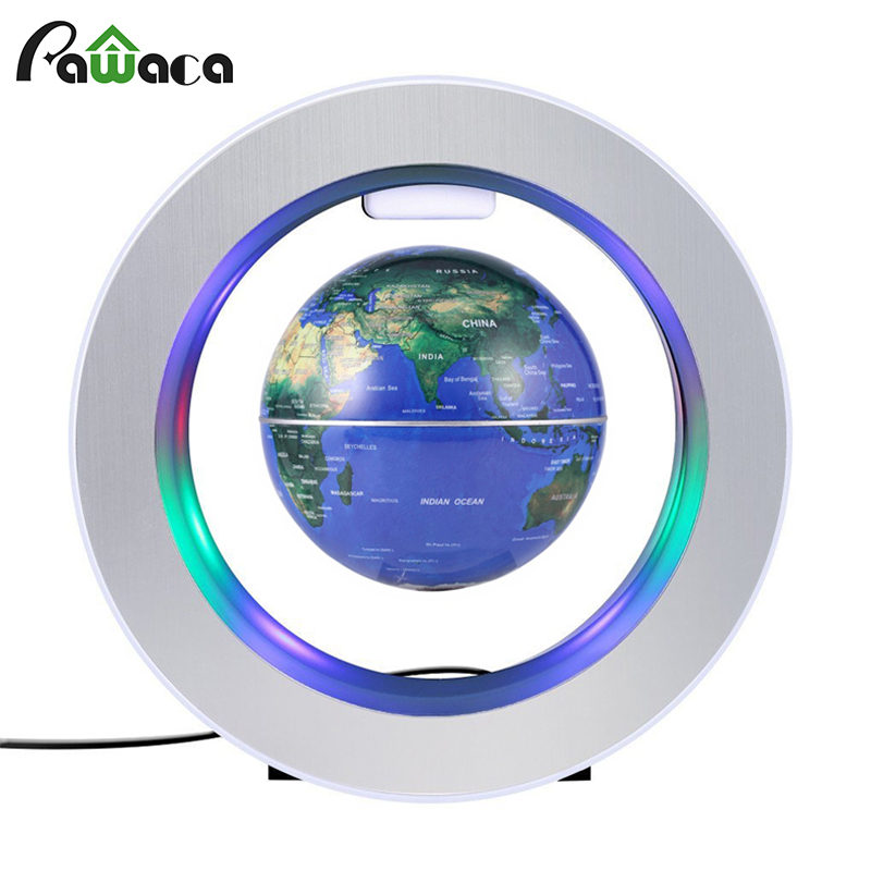 Floating Globe World Map Tellurion Magnetic Levitation Round Globe With LED Light Home Office Desktop Decor Ornament 3 Colors ...