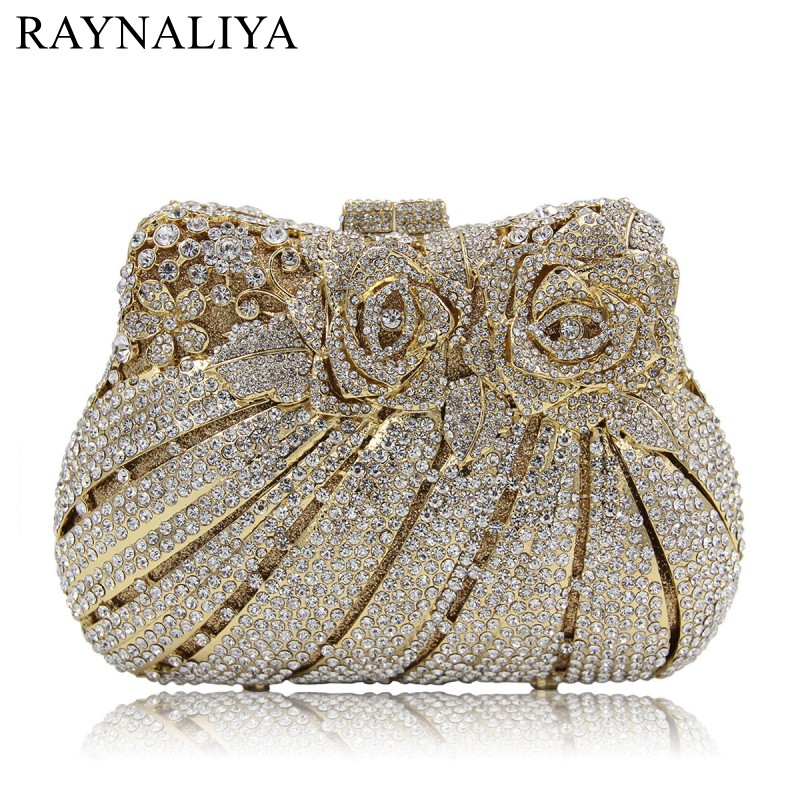 2017 Time-limited Direct Selling Polyester Women Wedding Clutches Bag Rose Flower Crystal Evening Bags Party Purses Smyzh-f0280