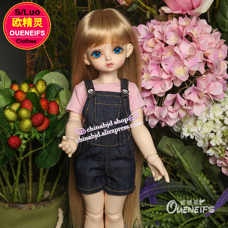 OUENEIFS girl pink and white ,T xu Braces jeans, 1/4 bjd/sd doll clothes,YF4-72, have not bjd sd doll or wig free shipping oueneifs bjd sd clothes 1 4doll pink collocation purple and white minifee chloe girl and luts bory body