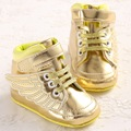 Hot 2016 Optional PU Leather Gold Baby Moccasins Baby Shoes Boys Girls Casual Shoes Branded Soft Bottom Newborn Baby Shoes Wings
