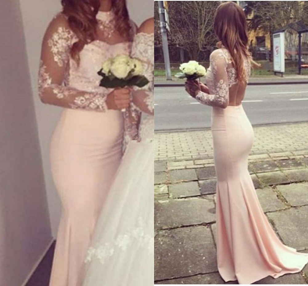 Backless 2019 Cheap   Bridesmaid     Dresses   Under 50 Mermaid High Collar Beaded Lace Long Wedding Party   Dresses   For Women