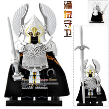 Single Sale XP138 Legoingly Minfig Fountain Guard Action Figure Soldier of Gondor Knight Spear Sword Building Blocks Bricks Toys(China)