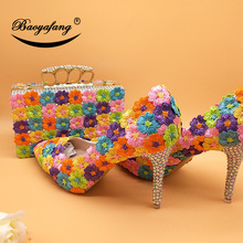BaoYaFang Womens wedding shoes with matching bags Pointed Toe Multicolored flower shoes and bag sets thin heel