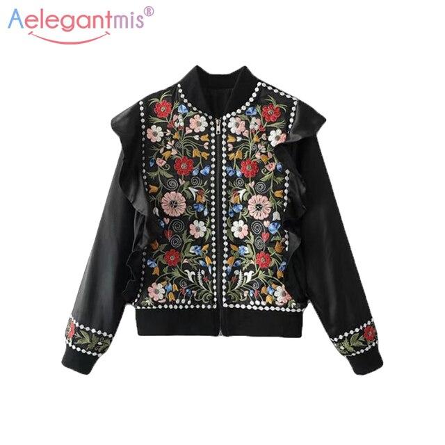 Aelegantmis Ethnic Vintage Black Embroidery Jacket Women Fashion Beading  Coats Lady Butterfly Sleeve Floral Embroidered Jackets