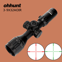 Ohhunt 3 9X32 AOIR Compact Hunting Rifle Scopes Mil Dot RG Illumination Reticle With Windage Elevation