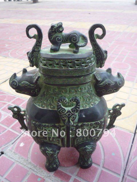 Very rare Qing Dynasty bronze censer,free shipping