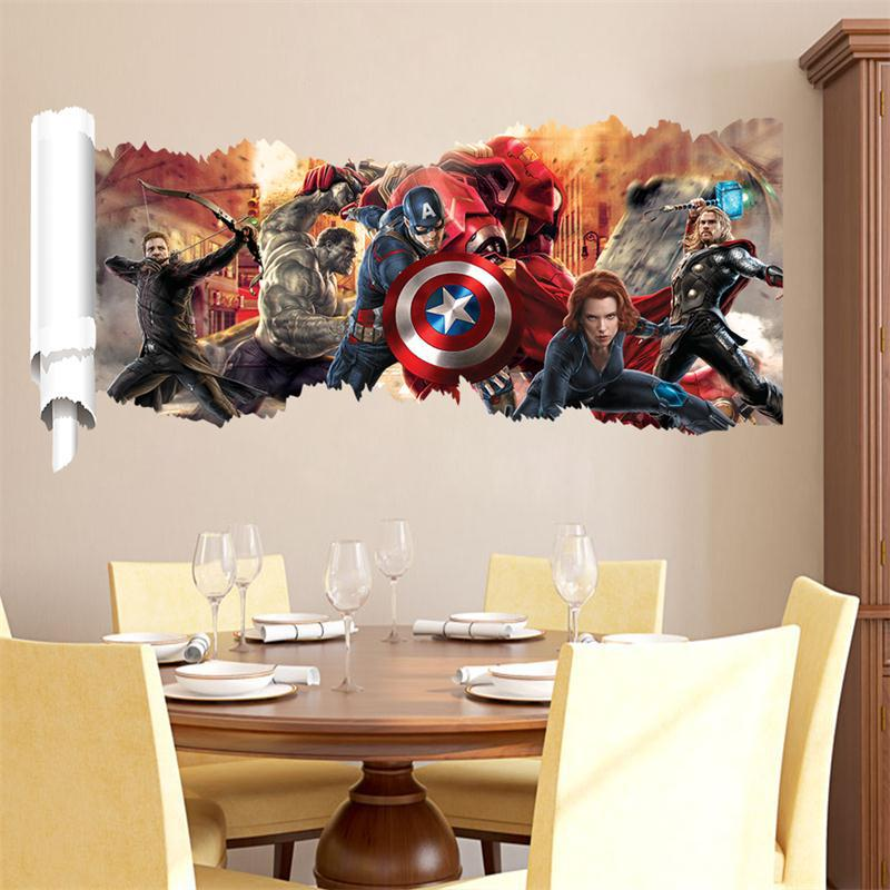 Lovely Handsome 3d Cartoon Movie Avengers Captain Home Decal Wall