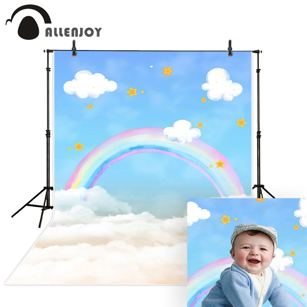 Allenjoy photography backdrops rainbow Clouds stars lovely backgrounds for children baby newborn photo backdrop Backgrounds цена