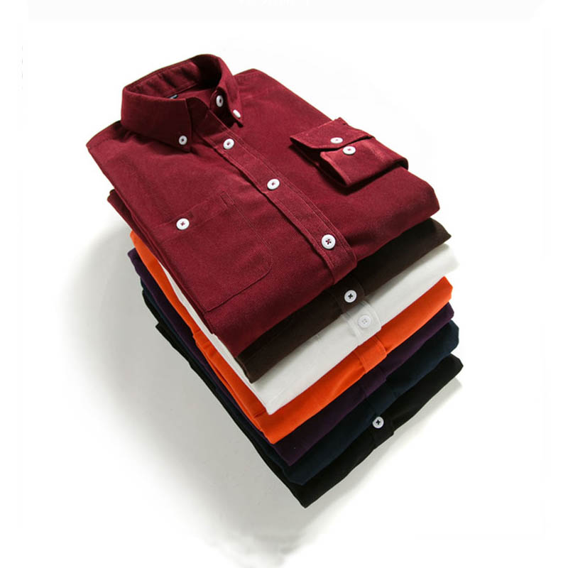 Male Corduroy ShirtAutumn Winter Men Long Sleeve Cotton Casual Long SleevedPlus Size Business Man Male Social Men Autumn Winte