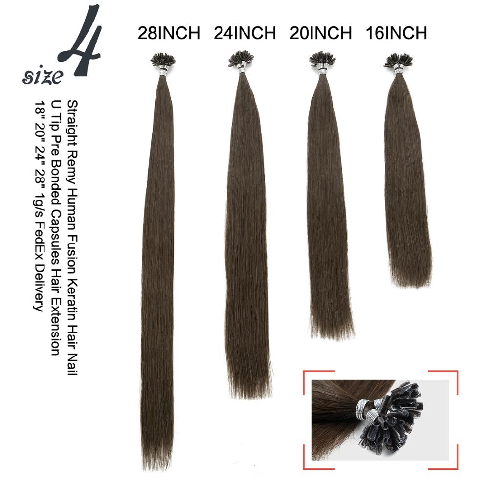 """Straight 20"""" Human U Bonded Extensions Double 16"""" Remy Fusion 24"""" Neitsi Nail 28"""" Keratin Pre Hair Tip Capsules Drawn 5"""