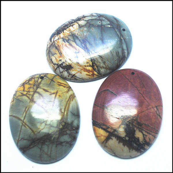 3pcs New Picaso Jasperr Stone Pendants Charms Natural Semi Precious Stone With Good Quality Very Popular Jewelry Fittings