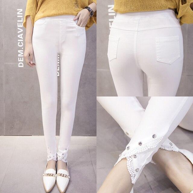 4xl plus size pants women spring autumn 2016 bermuda feminina fashion white black purple leggings panty long pants female A1460