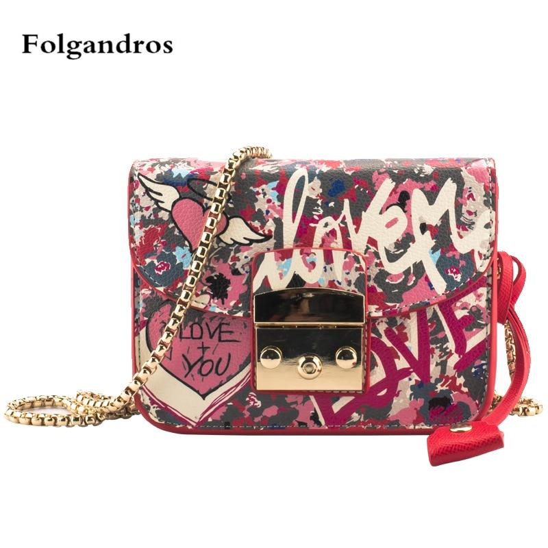 2018 Fashion Graffiti Women Shoulder Crossbody Bags Casual Chain Messenger High Quality Leather Handbags Vs Pink