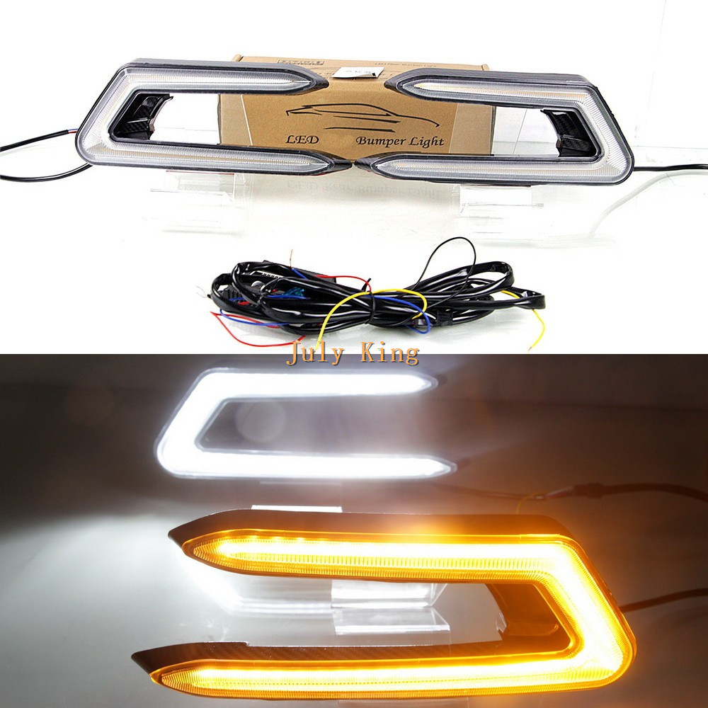 July King LED Daytime Running Lights Case for Toyota Camry 2018+ Deluxe With Fog Lamp Version , LED DRL + Yellow Turn Signals july king led daytime running lights drl led fog lamp case for bmw 3 series e90 2006 2008 with yellow turn signal light