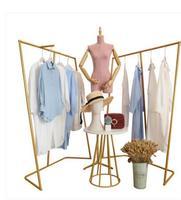 Clothing Shop Zhongdao Shopping Rack Shop Atrium Design Shoe Bag Show Table Gold Simple Iron Clothing Rack.