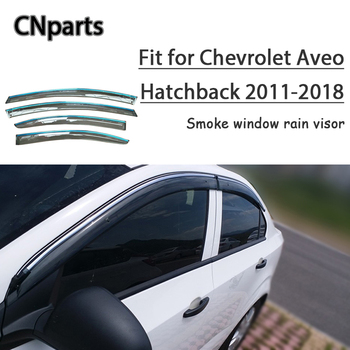 CNparts 4pcs ABS For Chevrolet Aveo Hatchback 2011-2018 Car Smoke Window Visor Keep  Fresh Air  convection Accessories