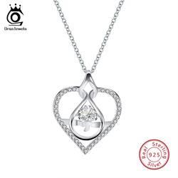 ORSA JEWELS Настоящее серебро 925 проба кулон ожерелья для Для женщин с AAA циркониевая подвеска в форме сердца серебряные свадебные украшения